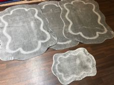 ROMANY WASHABLES CARVED DESIGNS SET OF 4 MATS XLARGE SIZE 100X140CM SILVER-GREY